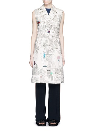 Main View - Click To Enlarge - Mira Mikati - NY Colour Book' illustration print sleeveless trench coat