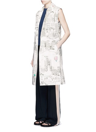 Figure View - Click To Enlarge - Mira Mikati - NY Colour Book' illustration print sleeveless trench coat