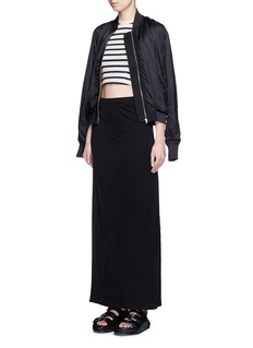T BY ALEXANDER WANG Stripe cotton jersey racerback cropped top