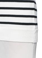 Crepe skirt stripe knit combo dress