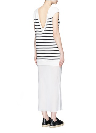 Figure View - Click To Enlarge - T By Alexander Wang - Crepe skirt stripe knit combo dress