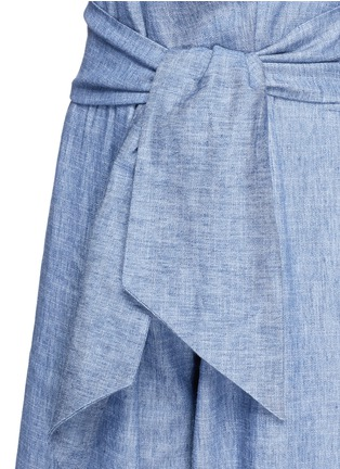 Detail View - Click To Enlarge - MSGM - Wrap waist chambray culottes