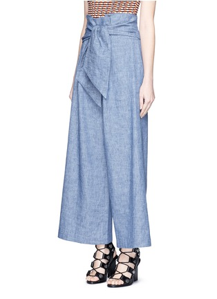 Front View - Click To Enlarge - MSGM - Wrap waist chambray culottes