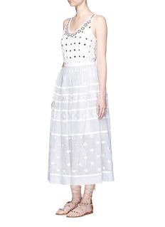 TEMPERLEY LONDON 'Lizette' lace trim floral embroidery organdy skirt