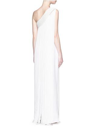 Back View - Click To Enlarge - Temperley London - 'Damara' fringe trim one-shoulder dress