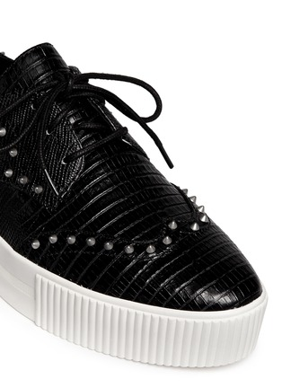 Detail View - Click To Enlarge - Ash - 'Krush' lizard effect stud leather flatform lace-ups