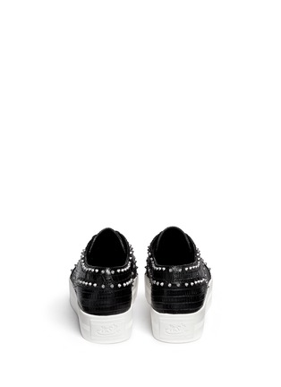 Back View - Click To Enlarge - Ash - 'Krush' lizard effect stud leather flatform lace-ups