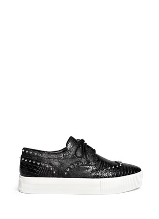 Main View - Click To Enlarge - Ash - 'Krush' lizard effect stud leather flatform lace-ups