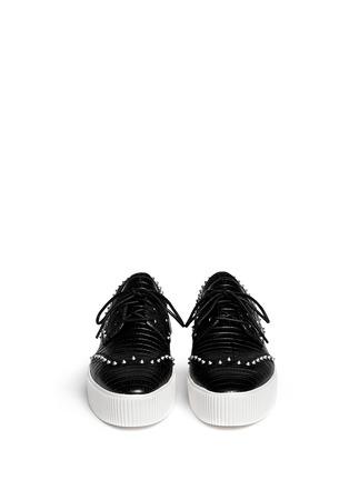 Figure View - Click To Enlarge - Ash - 'Krush' lizard effect stud leather flatform lace-ups