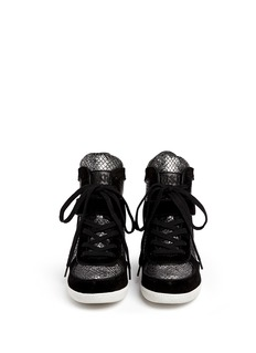 ASH 'Brendy' python embossed leather wedge sneakers