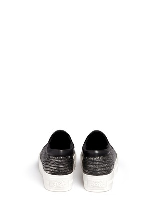 Back View - Click To Enlarge - Ash - 'Karma' metallic lizard effect leather flatform slip-ons