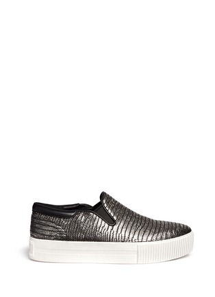 Main View - Click To Enlarge - Ash - 'Karma' metallic lizard effect leather flatform slip-ons