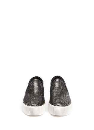 Figure View - Click To Enlarge - Ash - 'Karma' metallic lizard effect leather flatform slip-ons