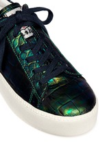 'Cult' holographic croc effect leather platform sneakers