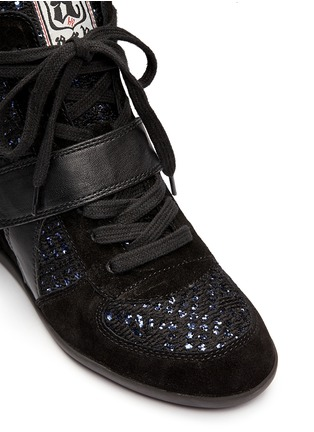 Detail View - Click To Enlarge - Ash - 'Bowie' sequin crochet high top wedge sneaker