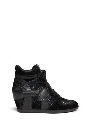 Main View - Click To Enlarge - Ash - 'Bowie' sequin crochet high top wedge sneaker