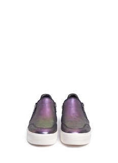 ASH 'Jordy' zip holographic leather skate slip-ons