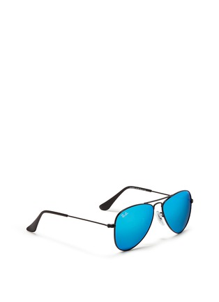 Figure View - Click To Enlarge - Ray-Ban - 'Aviator Junior' metal frame mirror sunglasses