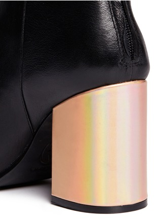 Detail View - Click To Enlarge - Ash - 'Fancy' holographic leather heel peep toe boots