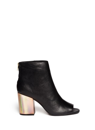 Main View - Click To Enlarge - Ash - 'Fancy' holographic leather heel peep toe boots