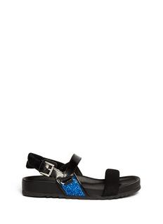 ASH'Unic' glitter mesh band leather sandals