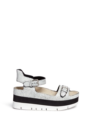 Main View - Click To Enlarge - Ash - 'Vera' cracked paint suede flatform sandals