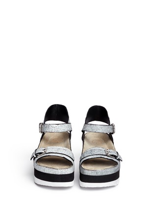 Figure View - Click To Enlarge - Ash - 'Vera' cracked paint suede flatform sandals