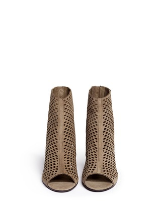 Figure View - Click To Enlarge - Ash - 'Fancy Bis' perforated suede peep toe ankle boots