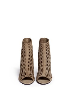 ASH'Fancy Bis' perforated suede peep toe ankle boots