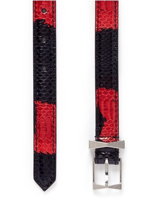 细节 - 点击放大 - ALEXANDER MCQUEEN - Colourblock snakeskin leather belt