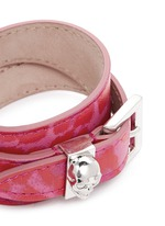Skull loop double wrap leopard print leather bracelet