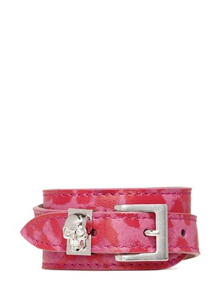 Main View - Click To Enlarge - Alexander McQueen - Skull loop double wrap leopard print leather bracelet