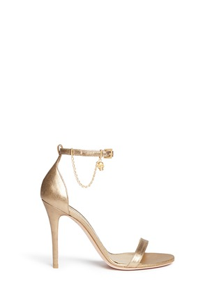 Main View - Click To Enlarge - Alexander McQueen - Skull charm chain metallic leather sandals