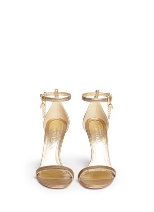 Figure View - Click To Enlarge - Alexander McQueen - Skull charm chain metallic leather sandals