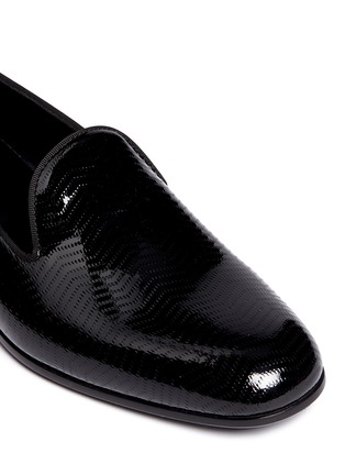 Detail View - Click To Enlarge - GIORGIO ARMANI SHOES - Chevron embossed patent leather slip-ons