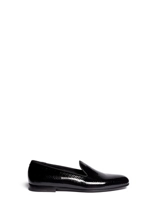Main View - Click To Enlarge - GIORGIO ARMANI SHOES - Chevron embossed patent leather slip-ons