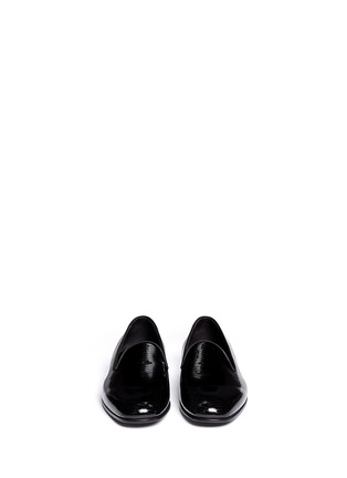 Figure View - Click To Enlarge - GIORGIO ARMANI SHOES - Chevron embossed patent leather slip-ons