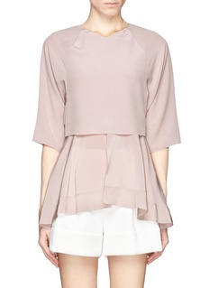 CHLOÉ Flare hem double layer silk blouse