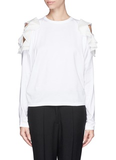 CHLOÉ Cutout shoulder silk ruffle top