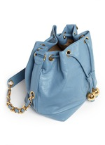 CC charm leather bucket bag