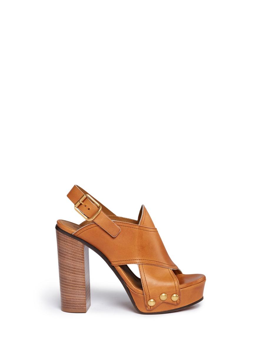 Mischa Plateau slingback leather platform sandals by Chloé