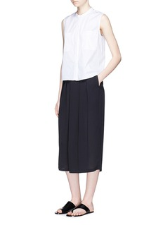 Vince Pleated silk crepe culottes