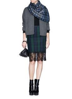 SACAILace trim tartan felt skirt