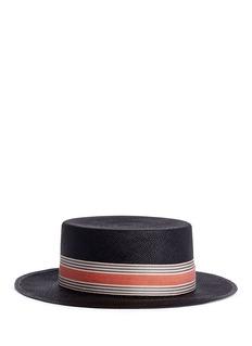 MY BOBCANOTIER条纹编织巴拿马硬草帽