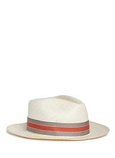 My Bob 'Jungla' stripe ribbon band straw Panama hat