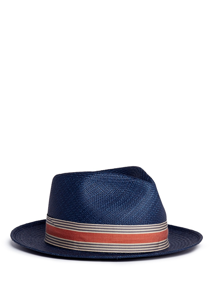 24 Hours stripe ribbon band straw Panama hat by My Bob