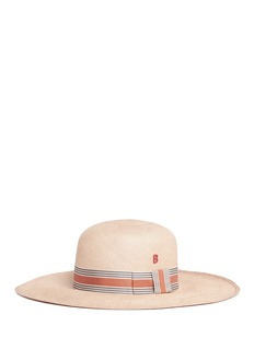 My Bob Stripe ribbon band straw capeline hat
