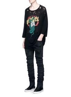 UnravelSkull snake print distressed T-shirt