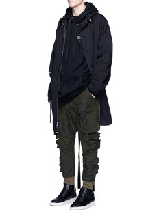Unravel Camouflage print drop crotch cargo pants