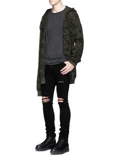 UnravelCamouflage print distressed zip hoodie